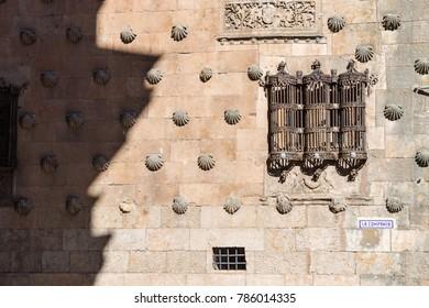 Facade of the Casa de las Conchas, Salamanca, Spain