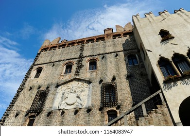 Facade of the Castle of Monselice, built up between the 11th and the 16th century . Monselice, Veneto, Italy