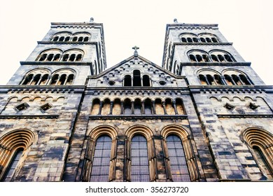 Facade of the cathedral in Lund, Sweden