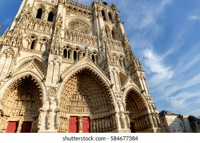 Facade of the Cathedral of Notre-Dame de Amiens, France.