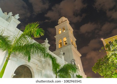 facade of the Cathedral of Our Lady of the Assumption next to the Zocalo of Veracruz with palm trees at night