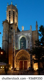 Facade of cathedral Saint-Sauveur in the ancient part of Aix en Provence town, South France, night shot
