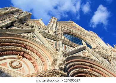 Facade of the Cathedral of Siena, Italy