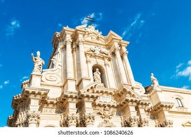 Facade of the Cathedral of Siracusa in the old town of the historic village of Siracusa in Sicily, Italy
