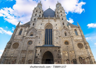 facade Cathedral St. Stephen's in Vienna, Austria in a beautiful autumn day.