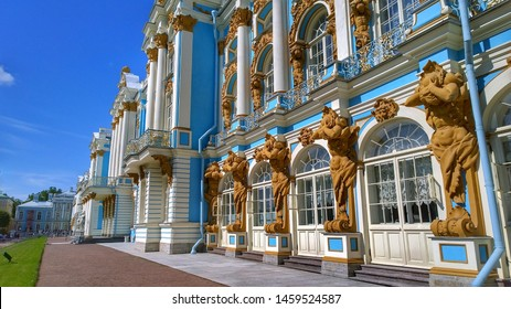 Facade of the Catherine Palace located in the suburb of St. Petersburg, in the city of Pushkin (Tsarskoe selo), Russia. Petersburg travelling. Russian royal tourist attractions. Architect Rastrelli