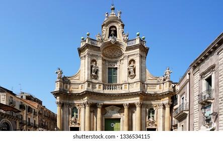Facade of Chiesa di san Michele Arcangelo ai Minoriti in Catania, Sicily, Italy