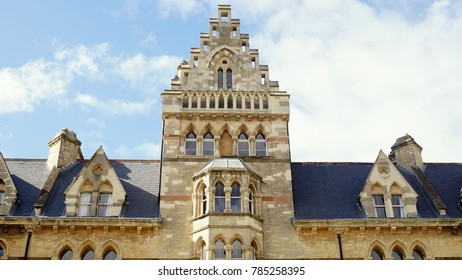 Facade of Christ Church Cathedral Building with a Cloudy and Blue Sky Background at a Sunny Day.