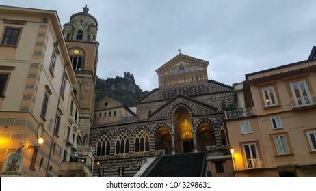 Facade of the church in Amalfi (Naples - Italy)