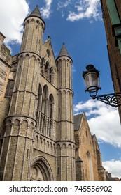 Facade of a church in Bruges, Belgium