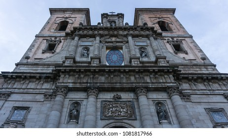 Facade of a church in the city of Toledo, Spain in late winter afternoon.