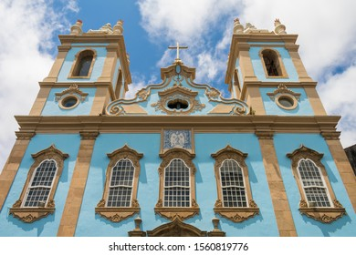 Facade of the Church of Our Lady of the Rosary of the Black People in Pelourinho, historic center of Salvador - Bahia, Brazil