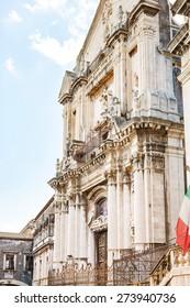 facade of Church San Benedetto on via Crociferi in Catania city, Sicily, Italy