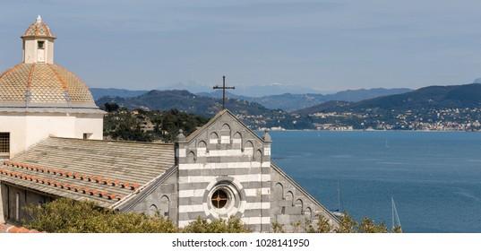 Facade of the church of San Lorenzo (St. Lawrence) 1098-1130, in the Porto Venere or Portovenere (UNESCO world heritage site), La Spezia, Liguria, Italy, Europe