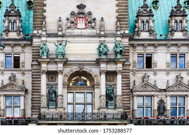 "Facade of City Hall, Hamburg, Germany. Text translation from latin to english ""Freedom won by our elders, may posterity strive to preserve it in dignity"". Latin motto of Hamburg on facade Rathaus"