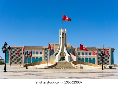 Facade of the city hall and the monument of the Kasbah Square in Tunis, Tunisia.