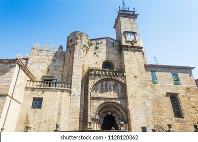 Facade and clock tower of Ourense cathedral