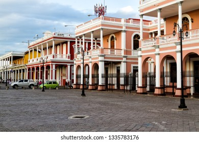 Facade of a colonial colorful building in the city centre of Granada, Nicaragua