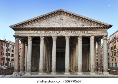Facade colonnade and entrance to ancient roman temple Pantheon. City square in a heart of Italian roman capital with nobody around.
