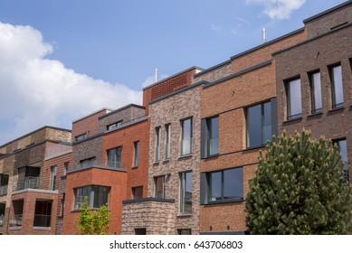 Facade of a contemporary apartment building