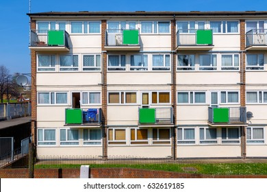 Facade of council housing flats in East London