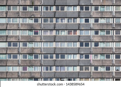 Facade of a council housing tower block in London