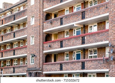 Facade of a council tower block in Bermondsey, London