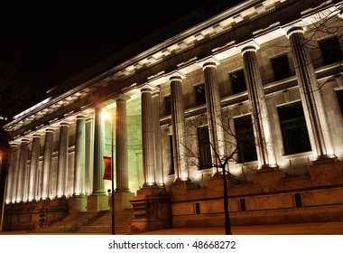 Facade of Court of Appeal of Quebec in Montreal at Night