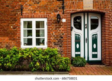 Facade of a cute brick house