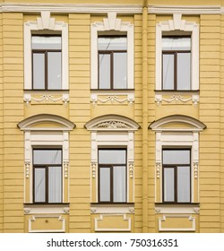 The facade is decorated with bas-relief 18th-century yellow located in Saint-Petersburg