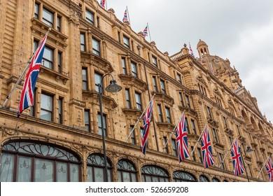 facade of the department store Harrods in London, UK