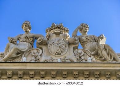 Facade detail of Real Academia Nacional de Medicina building. Built in 1912 by Luis Maria Cabello Lapiedra. Located in Arrieta Street, Madrid, Spain