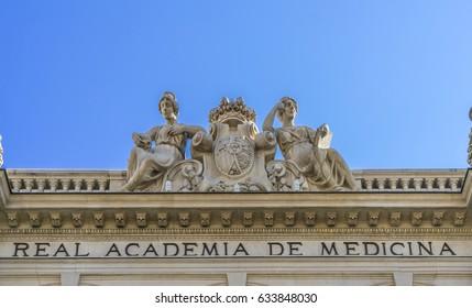 Facade detail of Real Academia Nacional de Medicina (Royal Academy of medicine) building. Built in 1912 by Luis Maria Cabello Lapiedra. Located in Arrieta Street, Madrid, Spain