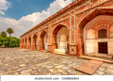Facade details of the podium of the Humayun's tomb, the mausoleum of the Mughal Emperor Humayun in New Delhi, India