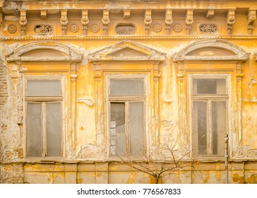 The facade of a dilapidated building