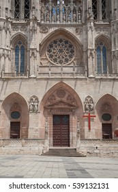 facade door landmark of famous gothic catholic cathedral St Mary or Santa Maria, religious monument made in XIII Century, in Burgos city, in Castile and Leon, Spain Europe