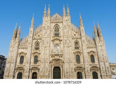 Facade of Duomo in Milan, Italy