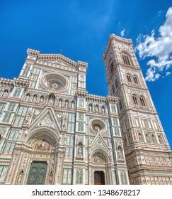 Facade of Duomo Santa Maria Del Fiore in Florence, Tuscany, Italy
