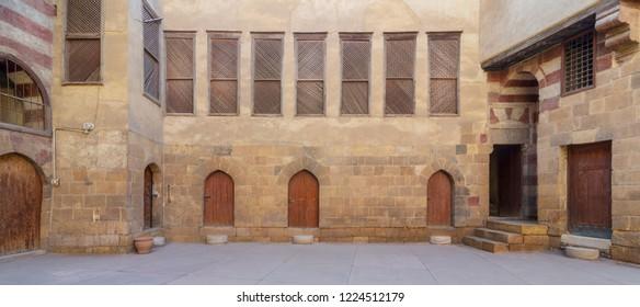 Facade of El Razzaz historic house, located at Darb Al-Ahmar district, Old Cairo, Egypt