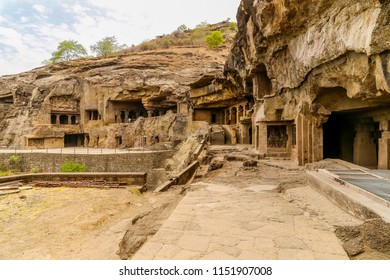 Facade. Ellora Caves, Aurangabad, Maharashtra, India, Asia