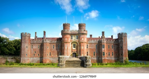 Facade and Entrance of Herstmonceux Castle, One of the Oldest Significant Brick Buildings Still Standing in England