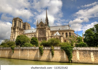 Facade of famous Notre Dame Cathedral in Paris, France.l