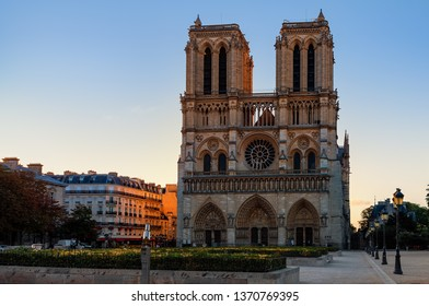 Facade of famous Notre-Dame de Paris cathedral in Paris, France.
