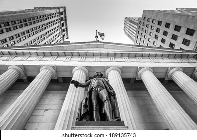 Facade of the Federal Hall with Washington Statue on the front, wall street, Manhattan, New York City in black and white