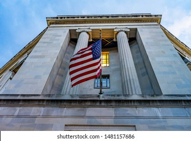 Facade Flags Robert F Kennedy Justice Department Building Pennsylvania Avenue Washington DC Completed in 1935. Houses 1000s of lawyers working at Justice.