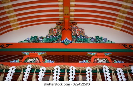 Facade of the gate in the Shinto shrine of Fushimi Inari-taisha, in Kyoto, Honshu Island, Japan