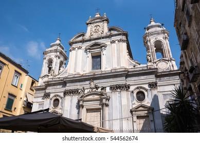Facade of the Girolamini church in Naples, Italy