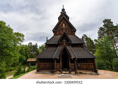 Facade of Gol Stave Church (Gol Stavkyrkje)  a typical Norwegian church at  Norwegian Museum of Cultural History. Oslo, Norway, August 2018