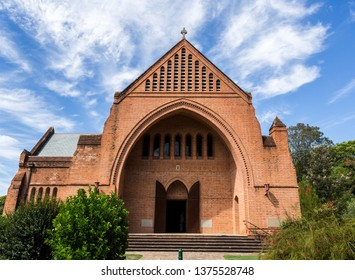 Facade of the Gothic architectural style Cathedral Church of Christ the King, an Anglican temple built in 1884 in central Grafton, a town in northern New South Wales, Australia