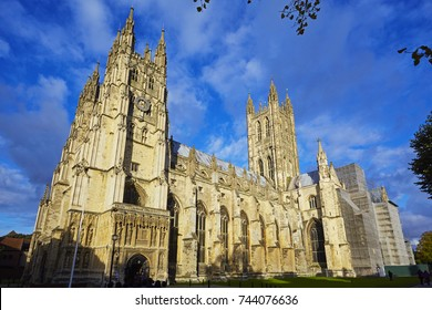 Facade of the Gothic Canterbury Cathedral at sunset, on ethe oldest and most important Christian sites in England